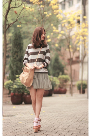 olive green yesstylecom dress - heather gray Izzue sweater - tawny Opening Cerem
