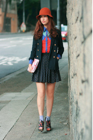 carrot orange romwe shirt - navy Chicwish skirt - periwinkle snupped accessories