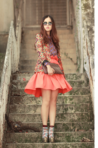 carrot orange romwe skirt - burnt orange Choies blazer - purple romwe shirt