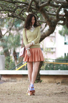 lime green FCUK sweater - tawny Opening Ceremony heels
