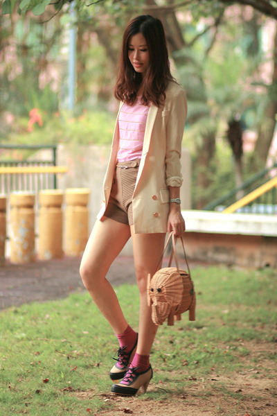 cream from laurustinus blazer - tan kate spade bag - brown from laurustinus shor