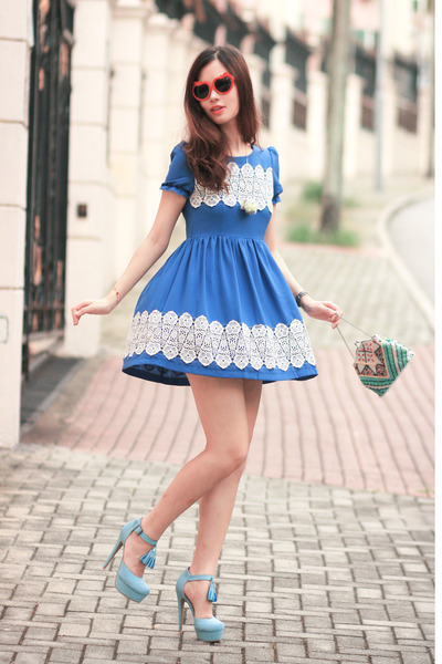 periwinkle Sugarfree heels - blue PepaLoves dress