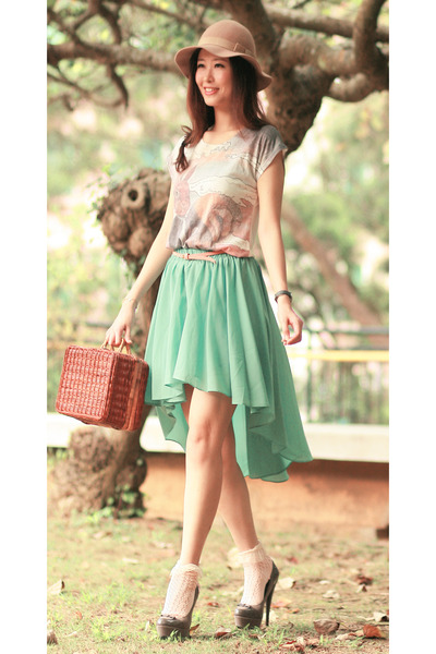 aquamarine Chicwish skirt - tawny Chicwish bag - neutral Chicwish t-shirt