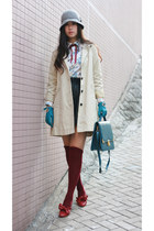 aquamarine Tie Rack gloves - cream chambre de charme coat