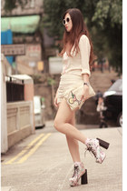 ivory romwe shorts - neutral Choies boots - light pink awwdore shirt