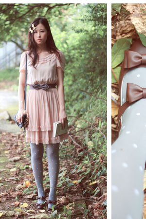 beige H&amp;M dress - gray H&amp;M belt - brown baby &amp; baby shoes