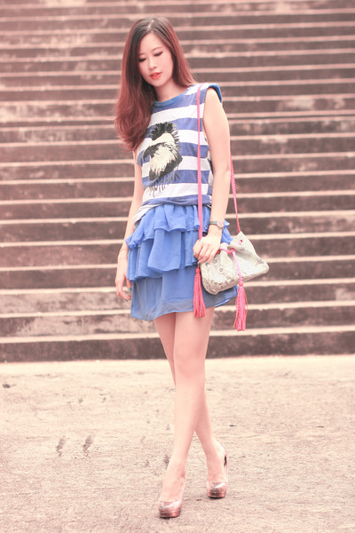 blue romwe top - violet Smooch dress - bubble gum quendoline bag