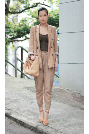 camel Zara blazer - bronze wedges shoes