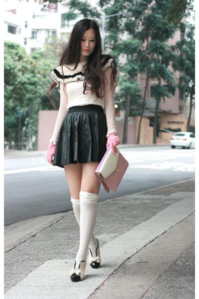 white polka dots lace no brand blouse - bubble gum ans gloves