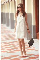 white Initial dress - charcoal gray Saint Laurent bag - maroon Celine sunglasses