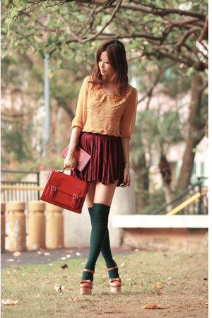 ruby red from romwecom bag - mustard from romwecom blouse - crimson from yesstyl