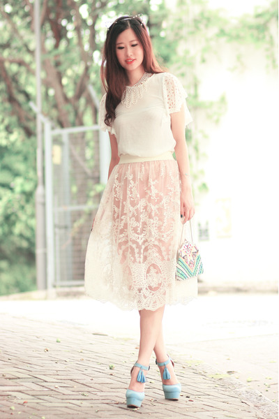 eggshell Chicwish skirt - white romwe necklace - white Yesstyle top