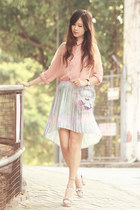 periwinkle Sheinside skirt - light pink Chicwish shirt