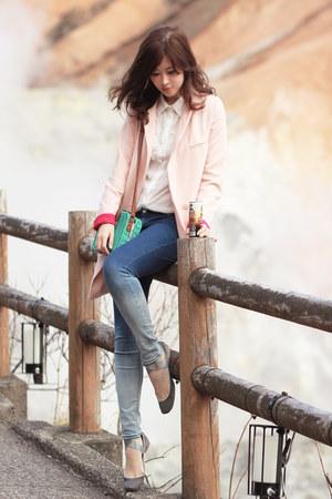 light pink romwe blazer - navy Yesstyle jeans - aquamarine romwe bag