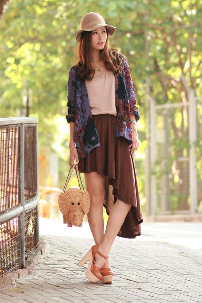 dark brown Modekungen skirt - deep purple chicwis cardigan