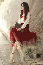 ivory sleeh boots - white Sheinside shirt - brick red Yesstyle skirt