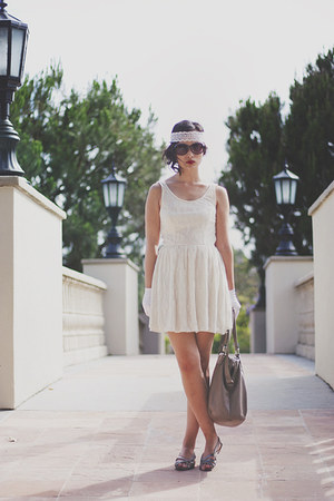 white Forever 21 dress - heather gray H&M bag
