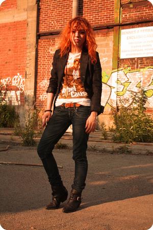 H&M blazer - H&M shirt - belt - Bershka jeans - boots
