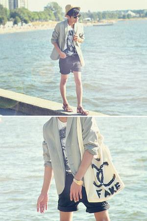 white graphic t-shirt Zara t-shirt - silver JNBY blazer - black DIY shorts