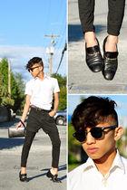 black Zara Kids leggings - black my moms old capri shorts - Zara belt - black vi
