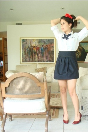 white uniform shirt - red pumps shoes - blue Zara skirt - red bow accessories