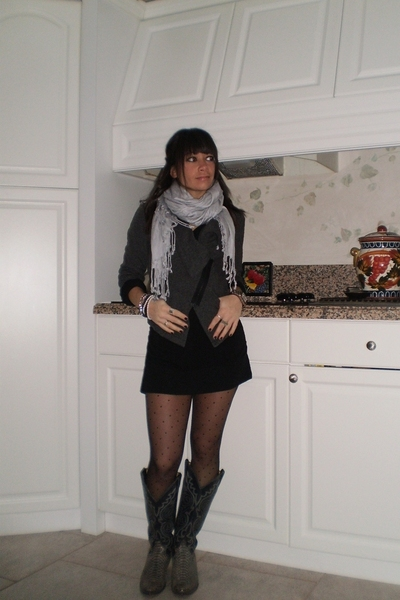 scarf - Topshop blazer - forever dress - Gap tights - vintage boots - vintage co