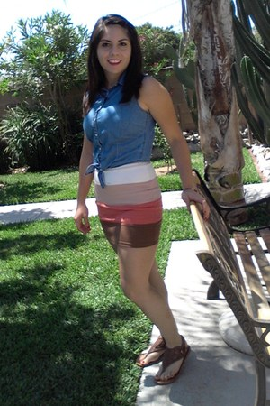 burnt orange Forever 21 skirt - blue Aeropostle top - brown Oneil sandals