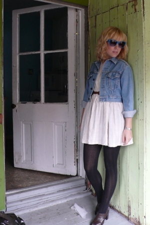 thrifted dress - thrifted jacket - UO sunglasses - thrifted shoes - thrifted bel