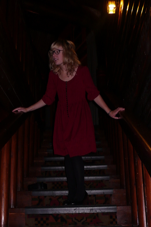 h&m via thrift town dress - Browns shoes - Brooks Brothers glasses - H&M accesso