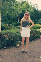 mesh Zara skirt - platforms runway heels - grey marl Topshop top