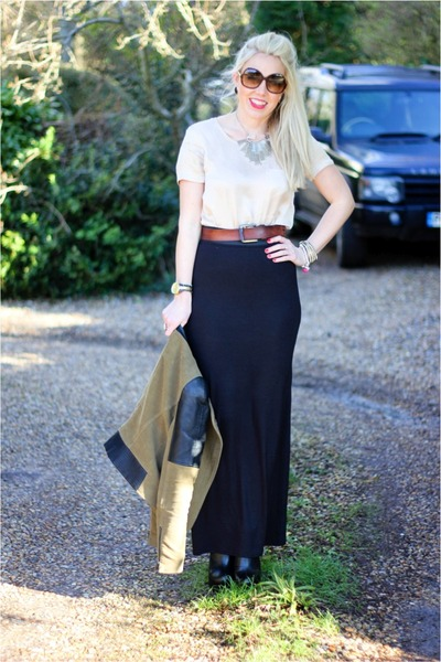 Karma Clothing skirt - Zara jacket - silk Zara blouse