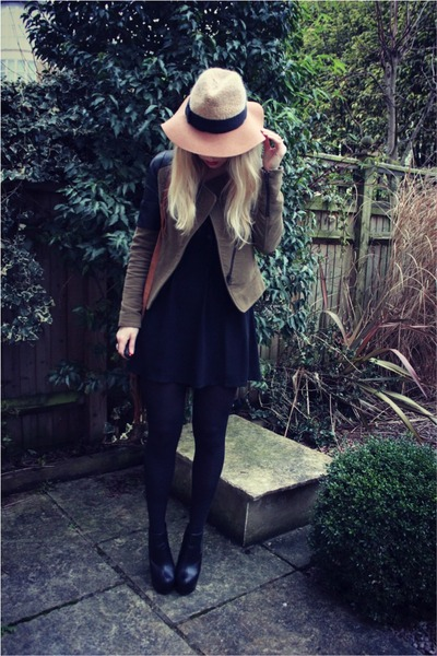 suede Zara jacket - Anthropologie hat - Steve Madden bag