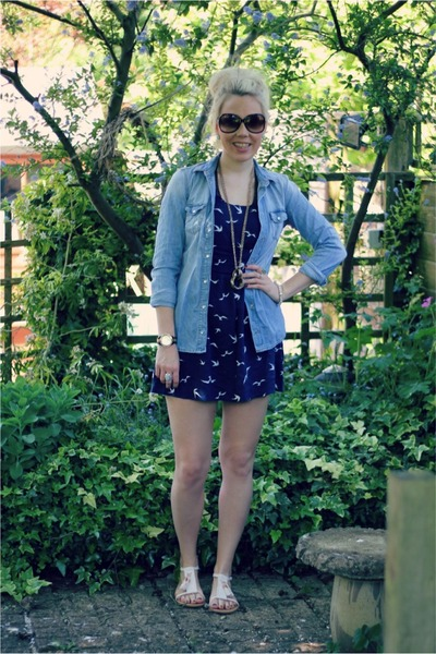 swallow print bank dress - denim Topshop shirt - cream suede H&amp;M sandals
