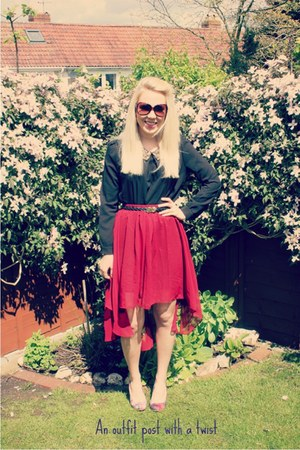 vintage skirt Sheinside skirt - Sheinside blouse - marissa heels Feud heels
