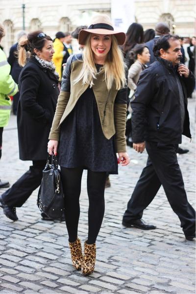 leopard Zara boots - smock asos dress - suede Zara jacket