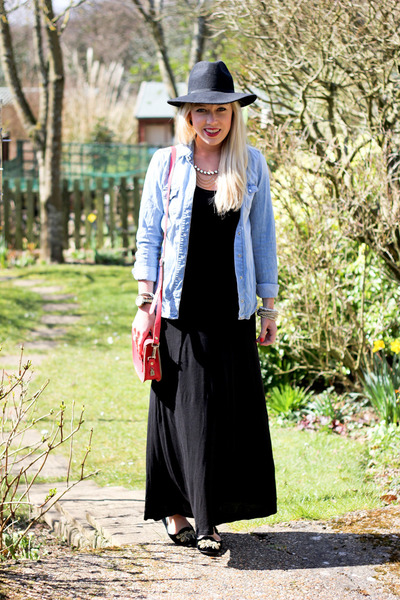fedora Topshop hat - maxi H&M dress