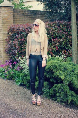 beaded Krisp top - Topshop leggings - tan Beshka blazer - print Krisp heels