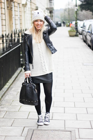 leather Topshop jacket - Converse shoes - leather H&amp;M skirt - Monki jumper