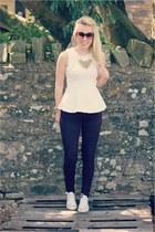 peplum Zara top - burgundy Topshop jeans - Converse pumps