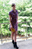 blue dress - yellow purse - black GoJane boots