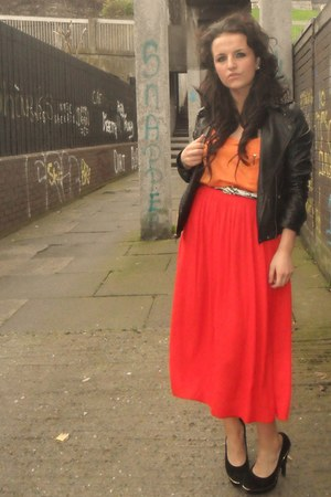 Topshop coat - Zara top - River Island skirt