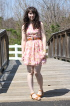 bubble gum Megan Nielsen dress - tawny rubi clogs - tawny vintage belt - gold vi