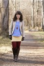 Brown-steve-madden-boots-camel-cue-blazer-ruby-red-we-love-colors-tights