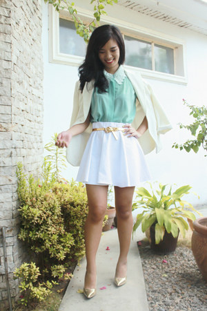 aquamarine Style Hub top - white Spruced Up skirt - gold Syrup heels