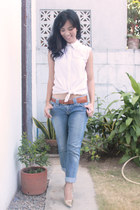 blue Next Jeans jeans - white Levis top - gold Syrup heels