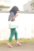 black Forever 21 dress - green Seventeen pants - white Levis top