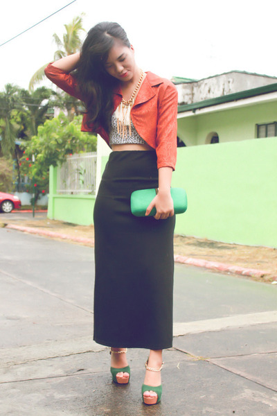 burnt orange cropped vintage blazer - dark green Chick Flick heels