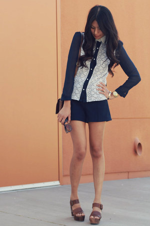 navy Sheinside blouse - navy Zara shorts - brown platforms ecote clogs