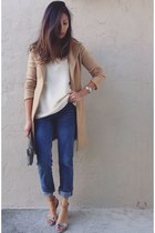 camel coat - blue boyfriend jeans thrifted jeans - off white thrifted blouse