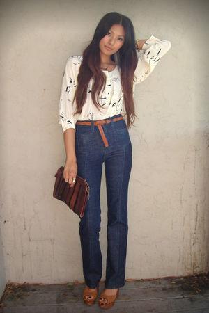 white Lux blouse - blue Lux jeans - brown Jeffrey Campbell shoes